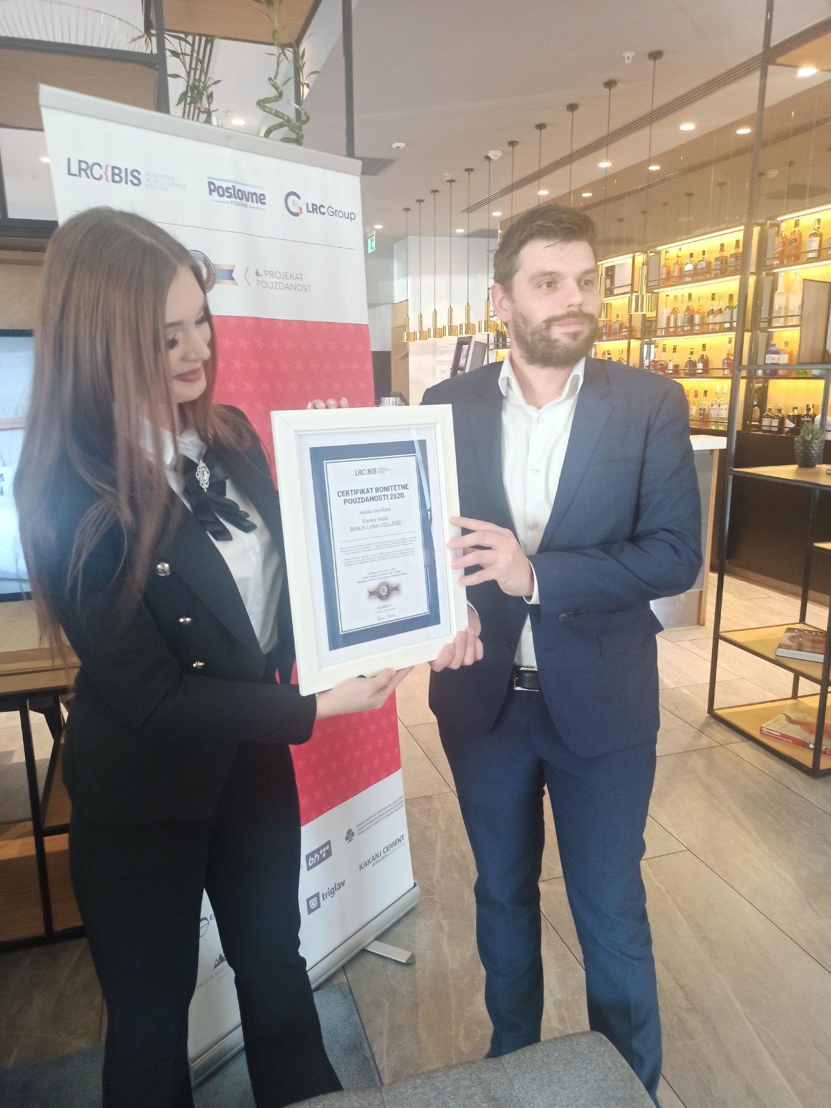 LCR-ov certifikat potvrda kvaliteta i pouzdanosti Visoke skole Banja Luka College